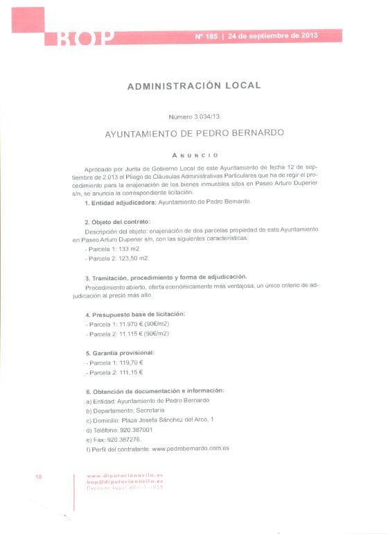 VENTA de Parcelas Ayuntamiento